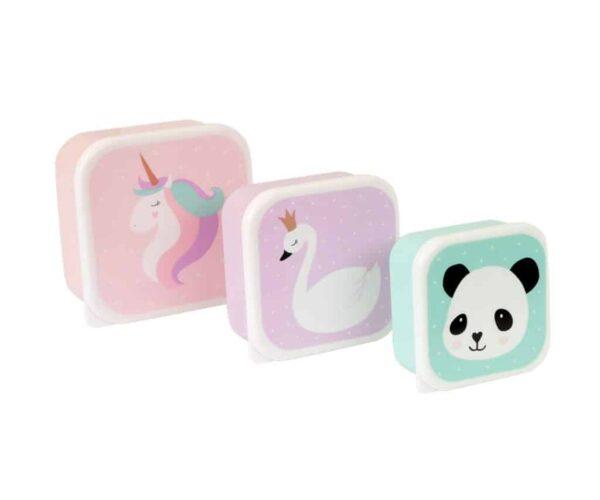 taper Pack 3 Cajas Almuerzo Unicornio y Amigos