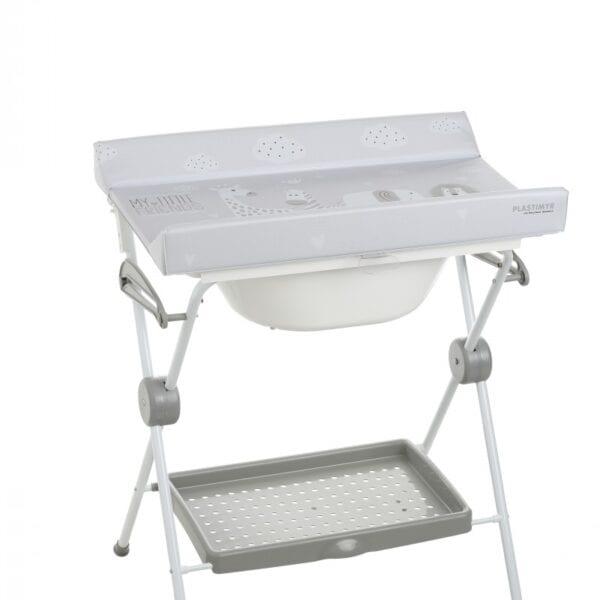 bañera plegable con cambiador safari gris menta y topos gris