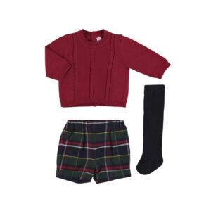 Conjunto pantalon jersey punto y leotardos rojo mayoral