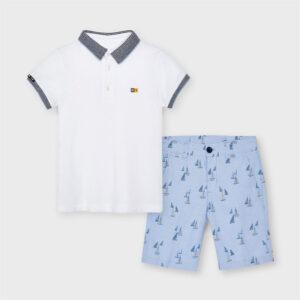 Conjunto elegante de polo y pantalón corto con ajuste, estampado de nueva linea MRAL.